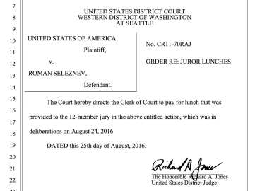 Also in the federal court documents for the case, this important decision on lunch