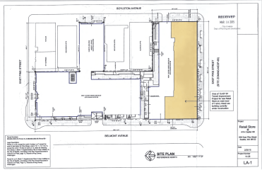 The site plan for the retail project