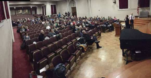 The crowd at a recent Miller Park neighborhood meeting to discuss the HALA proposals (Image courtesy Andrew Taylor)