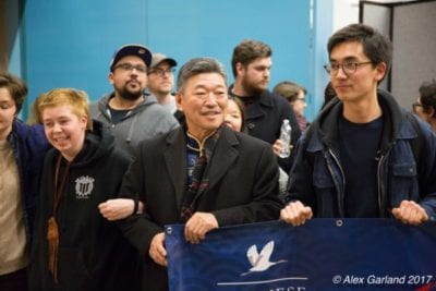 Democratics Sen. Hasegawa at January's protest at Sea-Tac