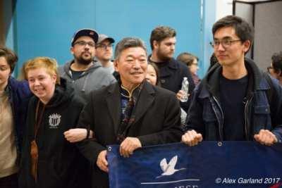 Democratics Sen. Hasegawa at January's protest at Sea-Tac