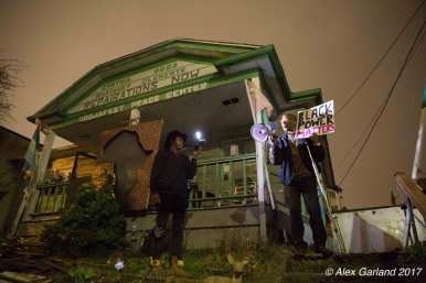 Omari Tahir Garrett thanked the crowd and urged protesters to be world leaders -- and save his house at 24th and Spring