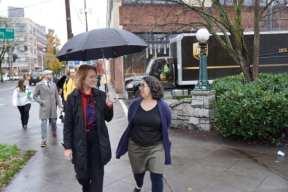 Mayor Durkan walks with Tracy Taylor of Elliott Bay
