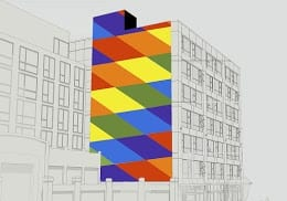 """Option C. """"The design I created incorporates the colours included in the pride flag. Caption Hill has been an area known for supporting and bringing awareness of pride culture. This mural was created to emphasize the on-going support and love within the community."""" -- Rhys Douglas Farrell"""