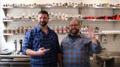 Aaron Barthel, right, andKarl Mueller of Intrigue Chocolate Co.