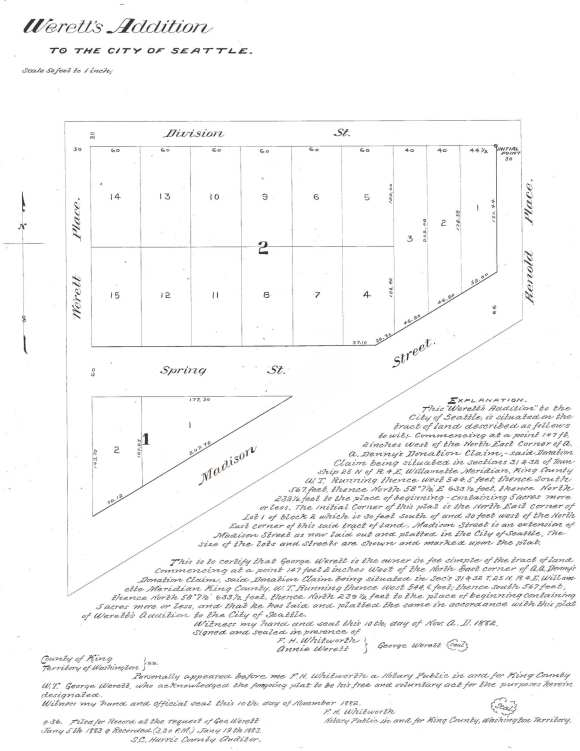1888 Plat of Werett's Addition to the City of Seattle