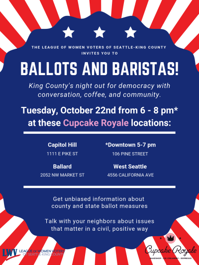 Ballots and Baristas 2019 @ Various locations (around King County)