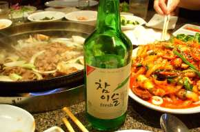 """Bulgogi and nakji bokkeum being served as anju along with soju"" (Image: L. W. Yang via Wikipedia)"