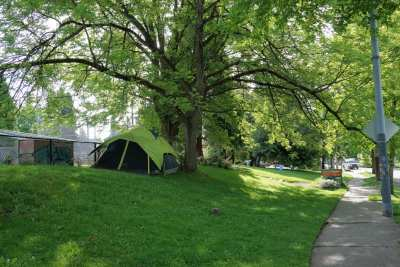 A tent at Miller Community Center