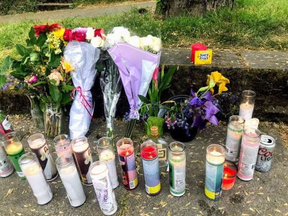 A memorial for Royale Lexing after the teen was gunned down in an E Union shootout last May (Image: CHS)