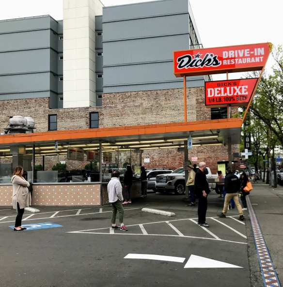 Customers line up at the Broadway Dick's