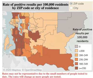 The rate of positive cases is highest in the Seattle area's most diverse communities to the south and to the north of the city's core