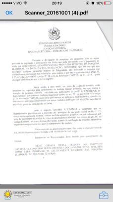 JUSTIÇA ELEITORAL DE ITAPEMIRIM DETERMINA A RETIRADA DE SUPOSTA FALSA PESQUISA