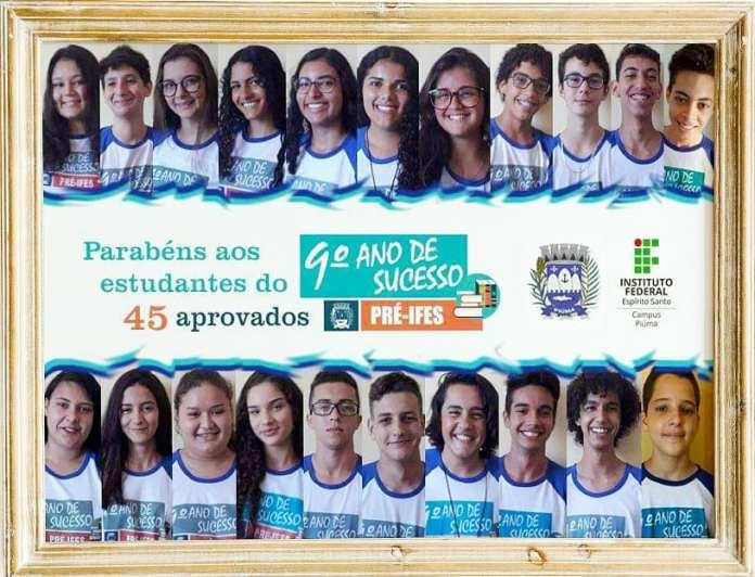 Piúma I 45 alunos são aprovados no Pré-Ifes