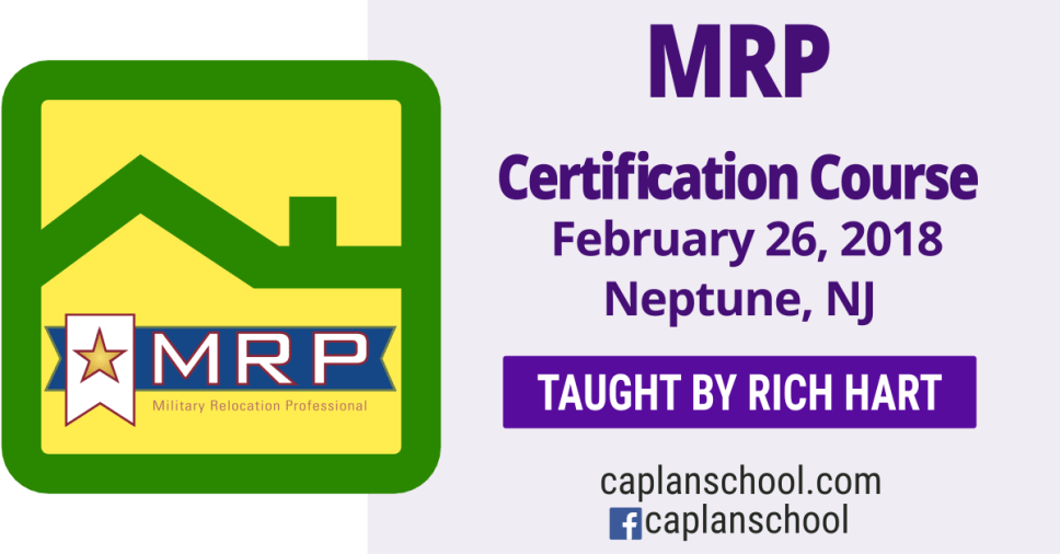 The goal of MRP Certification (Military Relocation Professional) course is to educate real estate professionals about working with current and former military service members, to find the housing solutions that best suit their needs, as sellers or buyers and take full advantage of military benefits and support. Attendees will learn how to provide the real estate services at any stage in the service member's military career that best meet the needs of this niche market and win future referrals