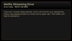 The Netflix Multiple Stream error