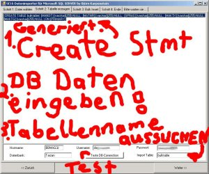 Schritt 2: Datenbankverbindung einrichten, testen und Zieltabellenname wählen (Create Statement wird automatisch anhand des Headers in der Textdatei generiert)