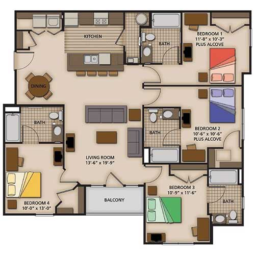 4 Bedroom Apartment Floor Plans Everdayentropy Com