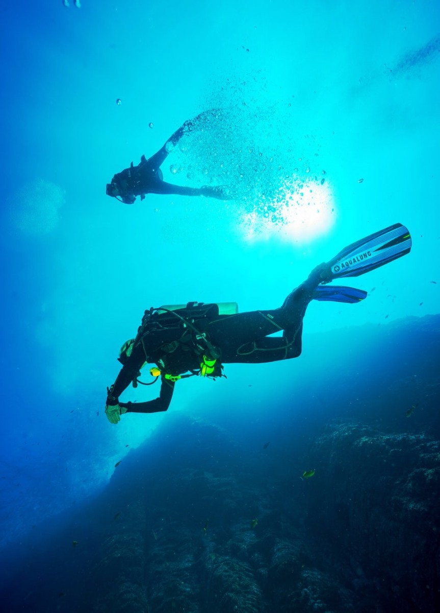 Scuba diving in the sea