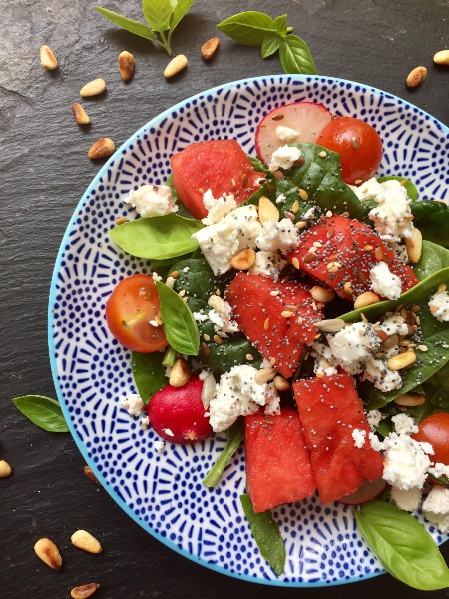 watermelon spinach salad