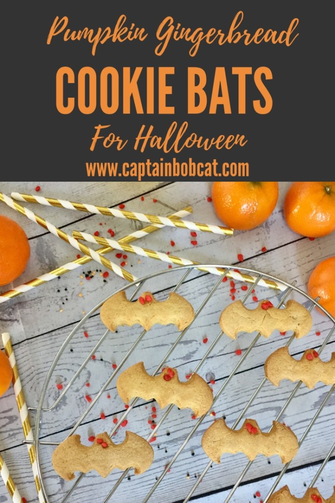 Pumpkin gingerbread cookie bats for Halloween