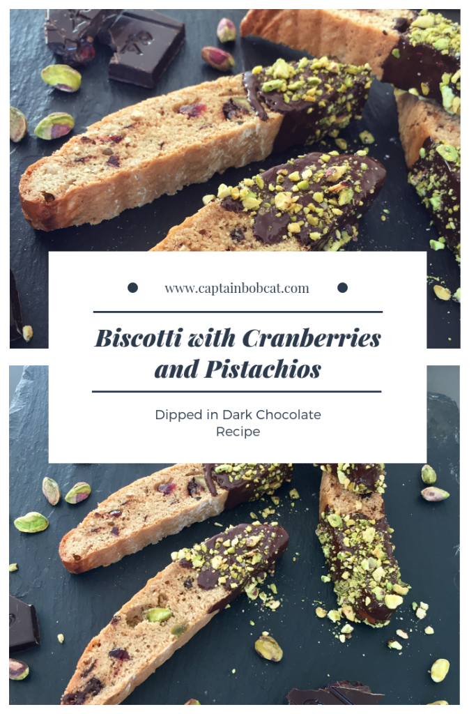 Biscotti with Cranberries and Pistachios Dipped in Dark Chocolate Recipe