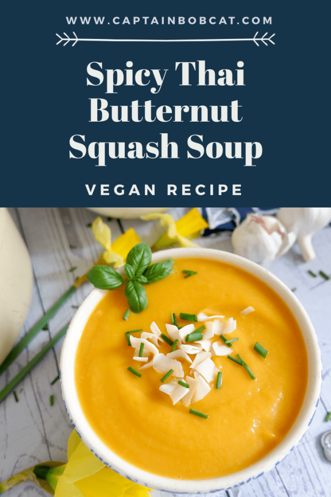 Spicy Thai Butternut Squash Soup (Vegan Recipe)