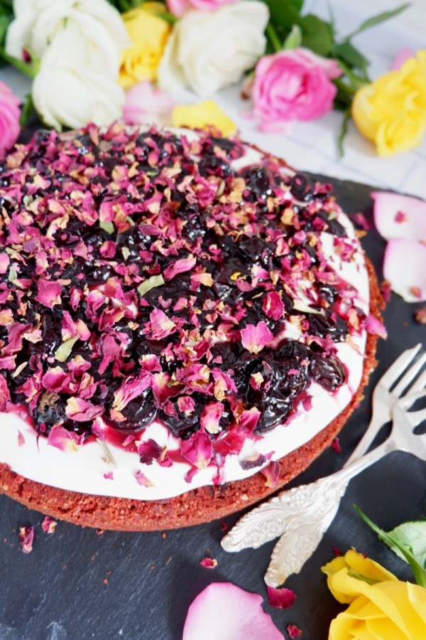 vegan black cherry cream cheese cake