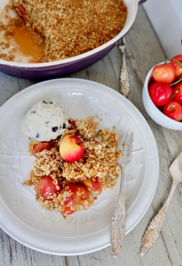 reduced sugar cherry crumble