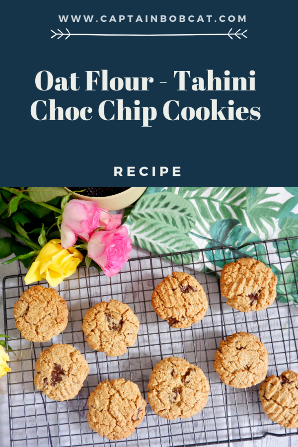 Oat Flour Tahini Choc Chip Cookies (Gluten Free Recipe)