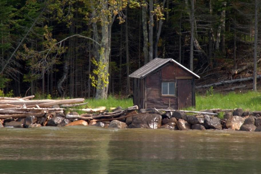 log cabin hut lake