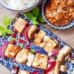 paneer and vegetable skewers with simple peanut sauce