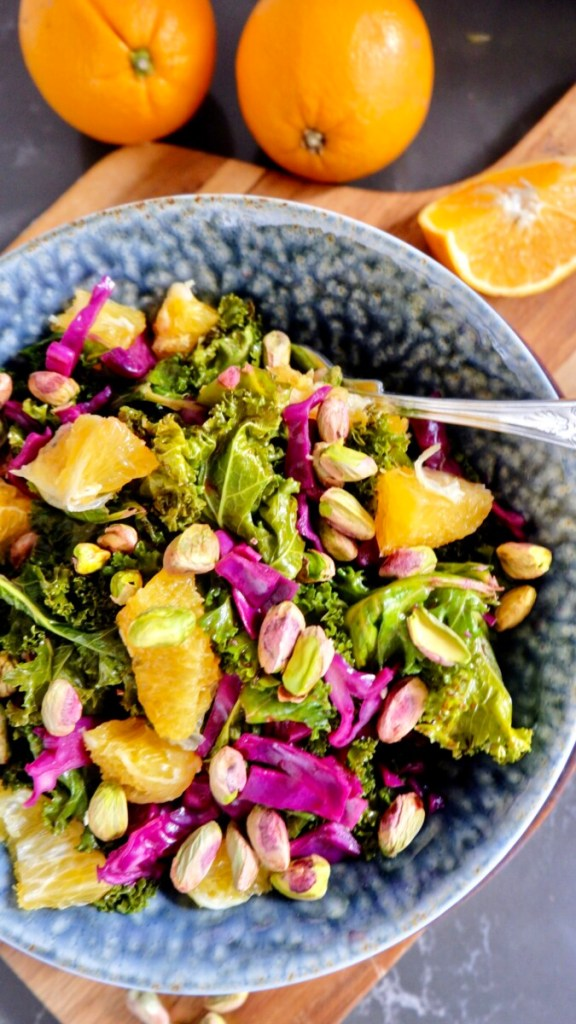 Orange and Kale Salad with Pistachios (Vegan Recipe)