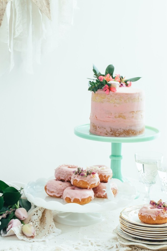 70th Birthday Invitations: pink cake and pink doughnuts