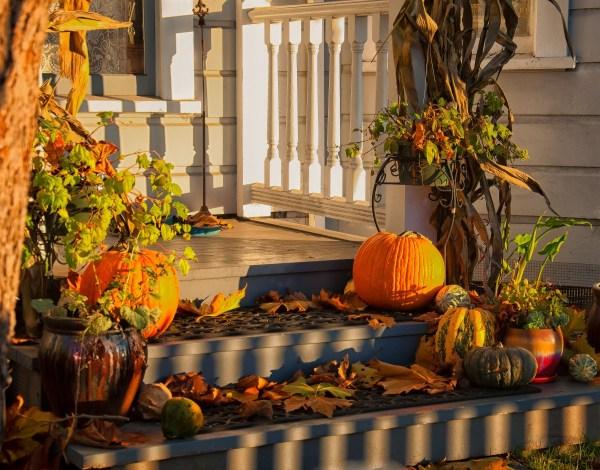 Autumn decorations - house exterior.
