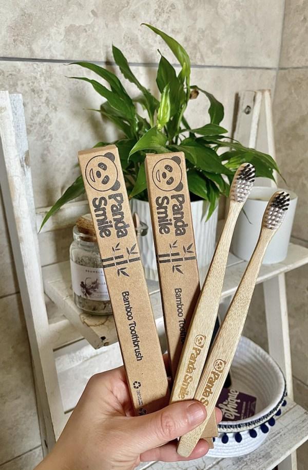 panda smile bamboo toothbrush