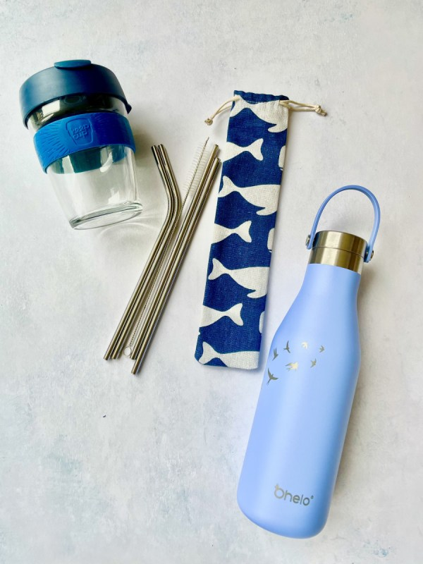 Reusable water bottle straws and coffee cup