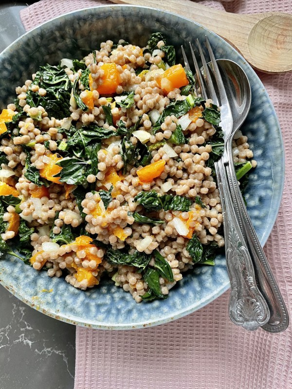 Wholewheat Couscous With Roasted Butternut Squash And Kale Salad (Vegan)