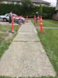 Before and after concrete sidewalk repair
