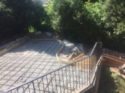 Forms rebar concrete patio