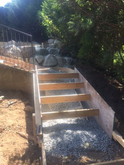 Forms rebar concrete stairs