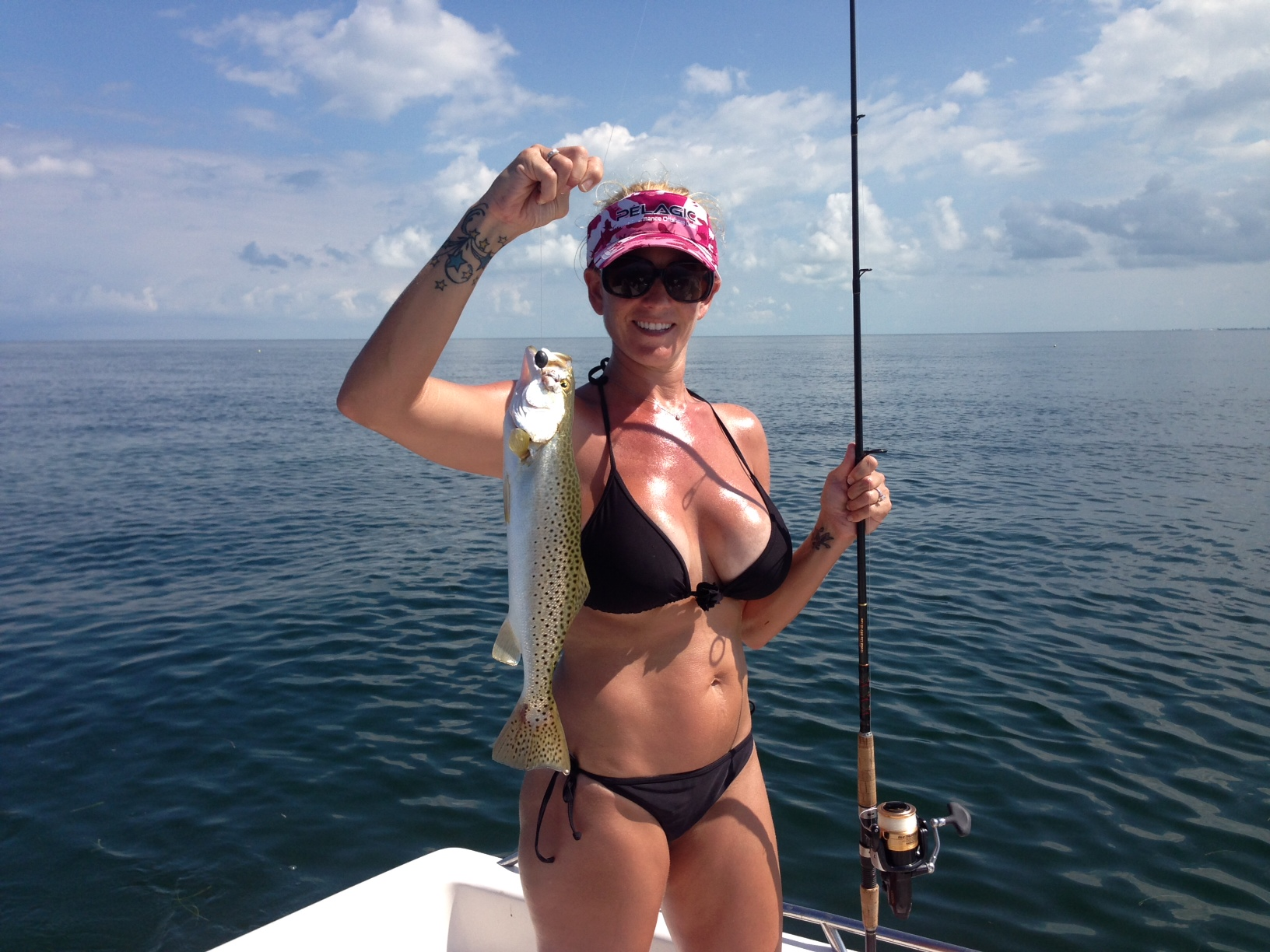 Melissa was fishing off Marathon in the Fl Keys and caught this sea trout.
