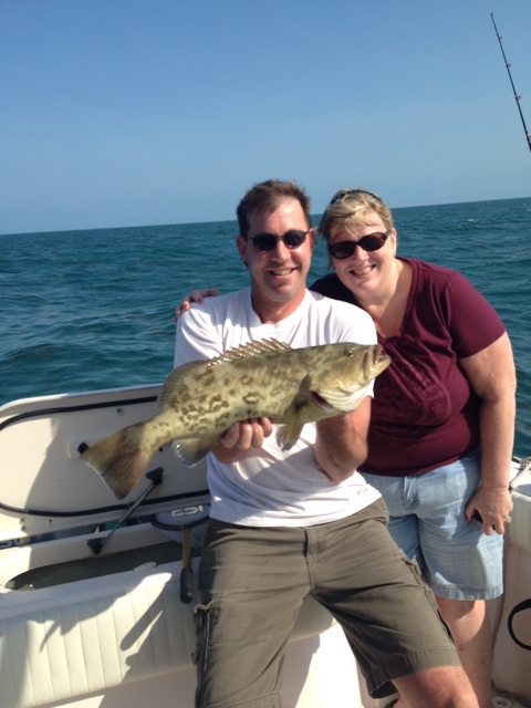 Jim and his wife caught this gag grouper fishing the bay off Marathon in the FL Keys.