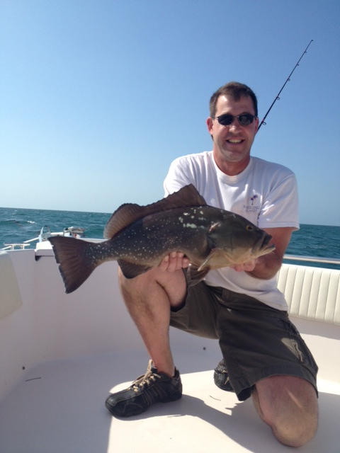 Jim caught this fat red grouper on a half day fishing charter off Marathon Key.