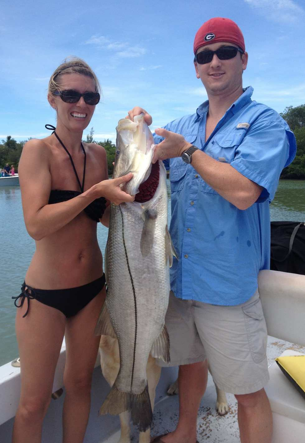 Myra's 35 LB. Big Snook! Catch & Release, Sanibel Island Fishing Charters & Captiva Island Fishing Charters, Sanibel Island, Sunday, March 18, 2018. [File Photo - July 12, 2012].