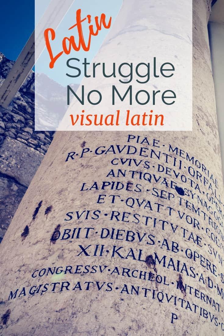 Roman pillar with latin writing. Text overlay saying 'Latin, struggle no more.'