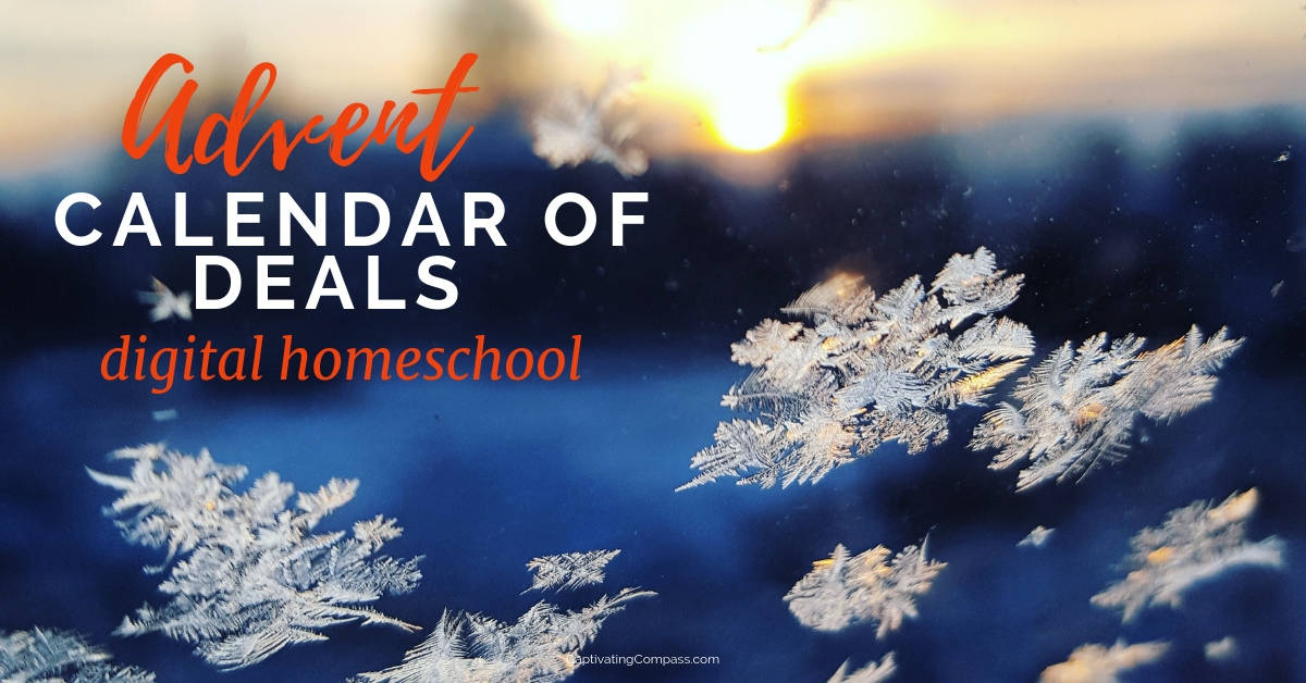 image of snowflakes falling at sunset wit text overlay Advent Calendar of Deals for Digital Homeschool