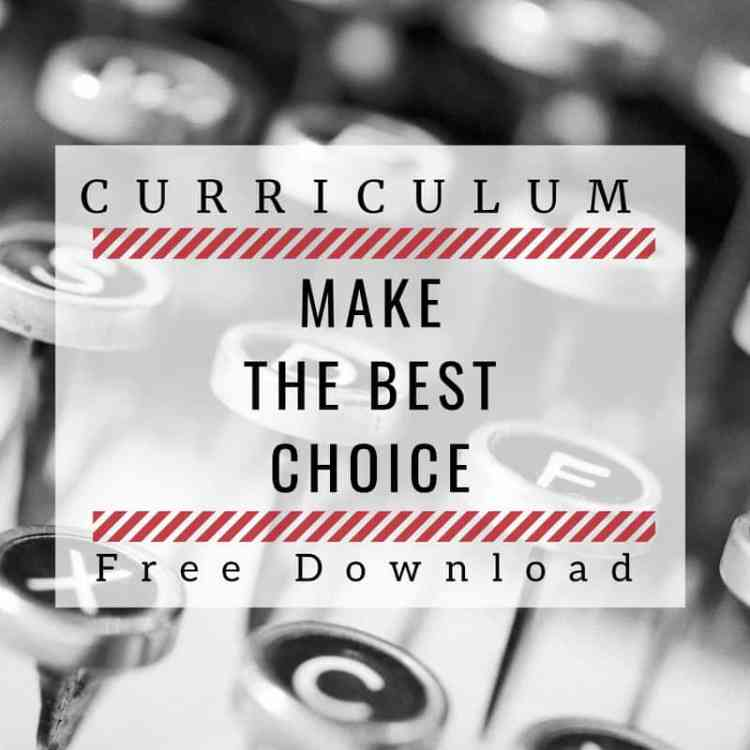 image of old typewriter key with text overlay saying: Curriculum: Make the best choices. Free Download