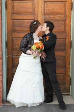 Wedding Bride LGBT Gay Fall kiss