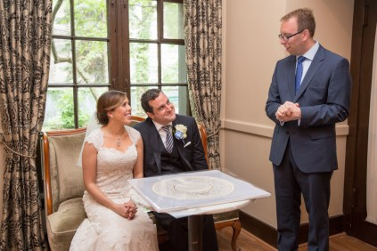 Bride groom rabbi ketubah, Chicago Wedding